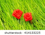 Two Roses From Textiles On A...