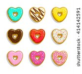 different sweet donuts icons...   Shutterstock .eps vector #414142591