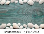 white sea shells forming top... | Shutterstock . vector #414142915