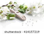 homeopathic pills with spring...   Shutterstock . vector #414157219