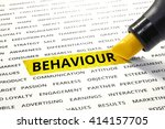 Small photo of Word Behaviour highlighted with marker on paper of other related words. For direction of business marketing concept