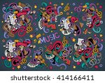 colorful vector hand drawn... | Shutterstock .eps vector #414166411