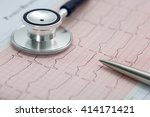 stethoscope head and silver pen ...   Shutterstock . vector #414171421