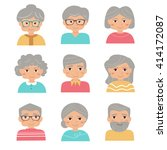 old people set. vector isolated ... | Shutterstock .eps vector #414172087