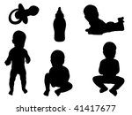 baby silhouettes | Shutterstock .eps vector #41417677