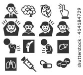 office syndrome  sick icons set | Shutterstock .eps vector #414184729