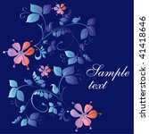 flower card on blue background. | Shutterstock .eps vector #41418646