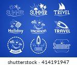 set of summer logos on summer... | Shutterstock .eps vector #414191947