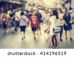 blurred people walking on the... | Shutterstock . vector #414196519