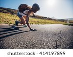 young woman riding on her... | Shutterstock . vector #414197899