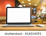 conceptual workspace  laptop...   Shutterstock . vector #414214291