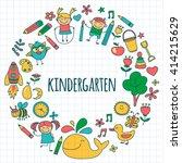 vector set of kindergarten... | Shutterstock .eps vector #414215629