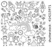 vector set of kindergarten... | Shutterstock .eps vector #414215971