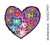 cute cats cuddle with heart | Shutterstock .eps vector #414217957