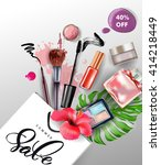 beauty and cosmetics background.... | Shutterstock .eps vector #414218449