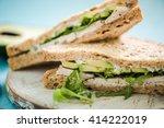 chicken and avocado wholegrain... | Shutterstock . vector #414222019