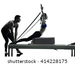 couple pilates reformer... | Shutterstock . vector #414228175