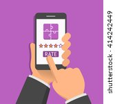 rating of mobile app. one hand... | Shutterstock .eps vector #414242449