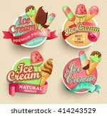 ice cream emblems  labels and...