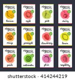 fruits and berries labels. hand ... | Shutterstock .eps vector #414244219