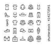 clothes outline icon set. black ... | Shutterstock .eps vector #414273541