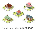Isometric Buildings Set. Flat...