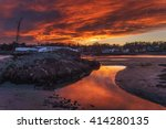 sunset with orange glow at... | Shutterstock . vector #414280135