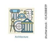 modern color thin line art... | Shutterstock .eps vector #414288859
