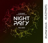 night party poster. shiny... | Shutterstock .eps vector #414294091