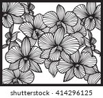 bouquet of orchids. pattern of... | Shutterstock .eps vector #414296125