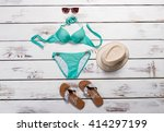 Turquoise Swimsuit And Aviator...
