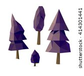 set of tree low poly  set... | Shutterstock .eps vector #414301441