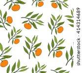 mandarin seamless pattern.... | Shutterstock .eps vector #414314689