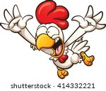 Cartoon Chicken Leaping. Vecto...