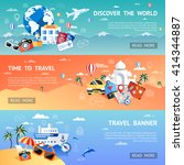 travel flat colored horizontal... | Shutterstock .eps vector #414344887