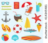 summer icon set with equipment... | Shutterstock .eps vector #414345481