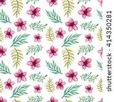 watercolor deep pink flowers... | Shutterstock . vector #414350281