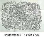 hipster hand drawn crazy doodle ... | Shutterstock .eps vector #414351739