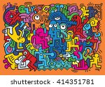dancing party pattern with... | Shutterstock .eps vector #414351781