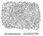 hipster hand drawn crazy doodle ... | Shutterstock .eps vector #414351799