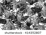 black and white tropical... | Shutterstock . vector #414352807