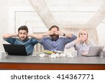frightened businessteam sitting ... | Shutterstock . vector #414367771
