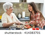 smiling grandmother with... | Shutterstock . vector #414383701