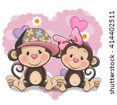 two cute cartoon monkeys on a... | Shutterstock .eps vector #414402511