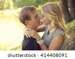 romantic caucasian couple... | Shutterstock . vector #414408091