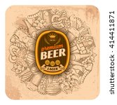 beer coaster design in outline... | Shutterstock .eps vector #414411871