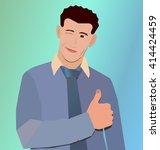 happy businessman winks and... | Shutterstock .eps vector #414424459