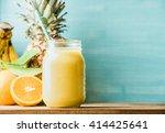 freshly blended yellow and... | Shutterstock . vector #414425641