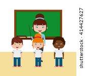 teacher classroom design  | Shutterstock .eps vector #414427627