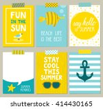 Vector set of bright summer cards. Beautiful summer posters with seagull, anchor, fish, starfish, glasses, sun and hand written text. Journal cards. | Shutterstock vector #414430165